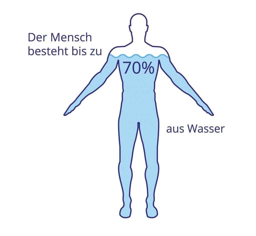 Infografik Wasser trinken: Der Mensch besteht bis zu 70% aus Wasser
