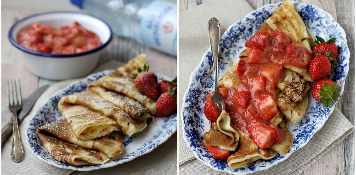 Pfannkuchen mit Erdbeer-Rhabarber-Kompott