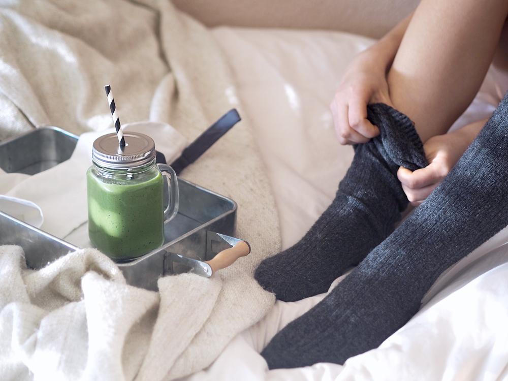 Morgenroutine einführen Morgenritual Start in den Tag grüner Smoothie Rezept